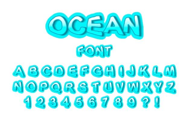 Fonte do oceano, números e letras turquesas