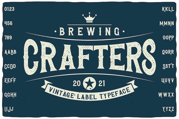 Fonte do rótulo do brewing crafters