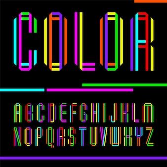Fonte dobrada de duas fitas coloridas, letras brilhantes de vetor.