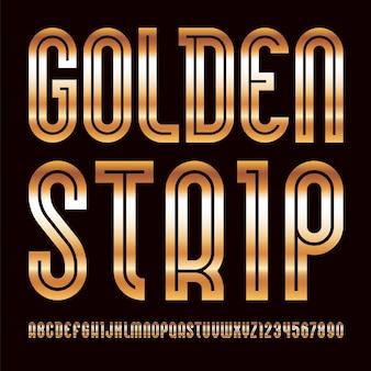 Fonte dourada. alfabeto moderno