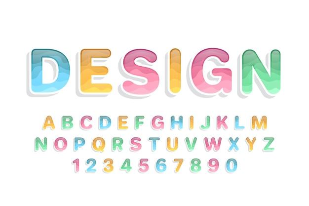 Fonte e alfabeto coloridos decorativos