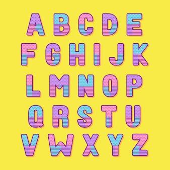 Fonte e alfabeto decorativos coloridos de memphis