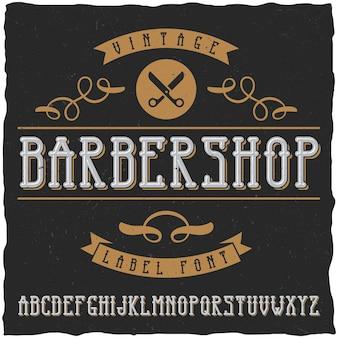 Fonte e amostra da etiqueta da barbearia