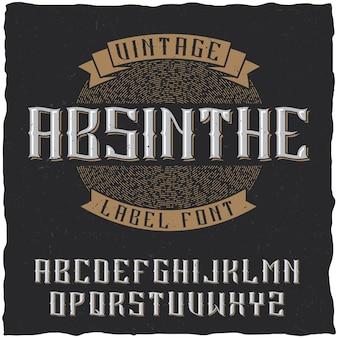Fonte e amostra do rótulo de absinto