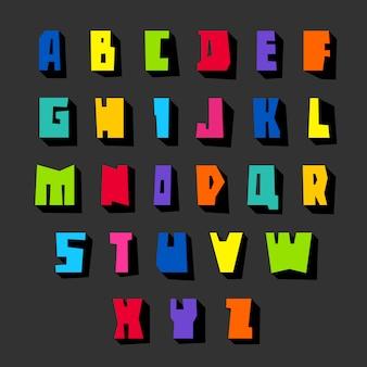 Fonte e letras coloridas cortadas em papel