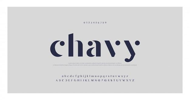 Fonte e letras elegantes do alfabeto clássico