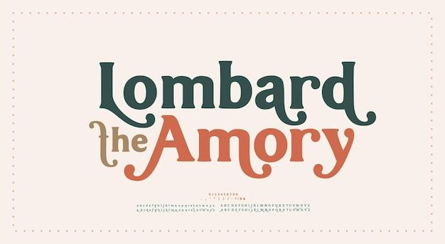 Fonte e número das letras do alfabeto vintage retrô. tipografia elegante luxo clássico letras serif fontes decorativas conceito de casamento. ilustração vetorial