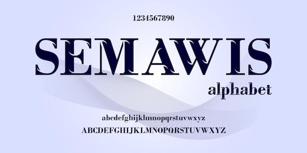 Fonte e número de letras do alfabeto elegante, design elegante clássico
