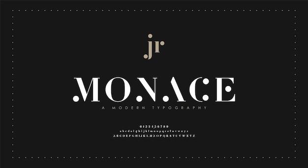 Fonte e número de letras do alfabeto elegante. letras clássicas, designs mínimos de moda. tipografia moderna com serifa