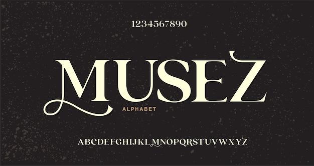 Fonte e número de letras do alfabeto em forma elegante. estilo classico