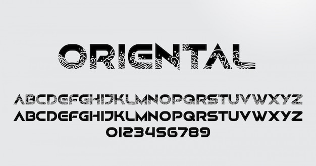 Fonte e número do alfabeto oriental abstrato com ondas orientais Vetor Premium