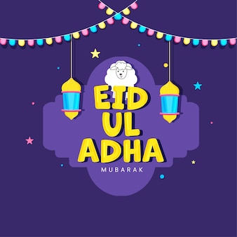 Fonte eid-ul-adha mubarak com ovelhas de desenho animado e lanternas penduradas