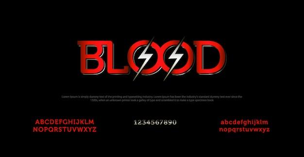 Fonte elegante alfabeto e tipografia com carta de sangue