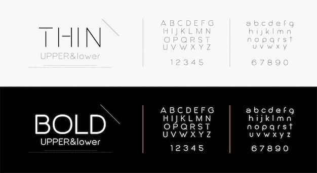 Fonte elegante letras do alfabeto