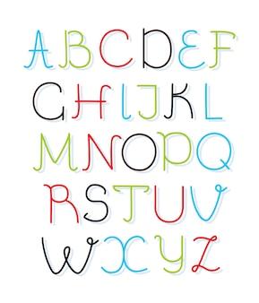Fonte em caixa alta do alfabeto desenhado