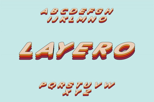Fonte em camadas retrô brincalhão conjunto de alfabeto de tipo de letra colorido