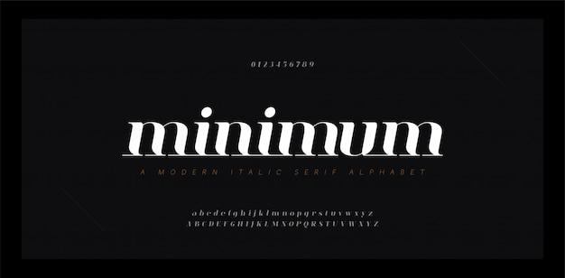 Fonte em itálico elegante letras do alfabeto impressionante