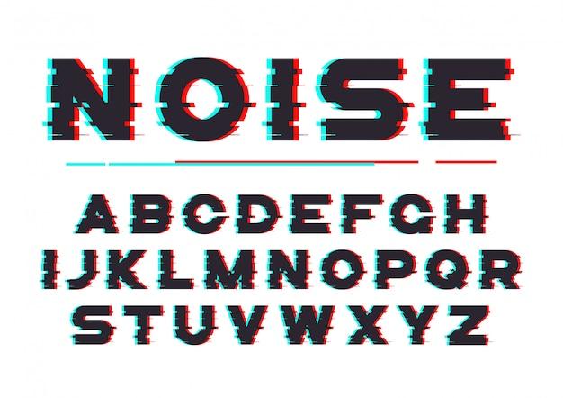 Fonte em negrito decorativa com ruído digital, distorção, efeito de falha
