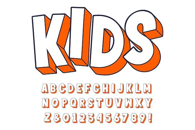 Fonte em negrito extrudado alfabeto cartoon 3d