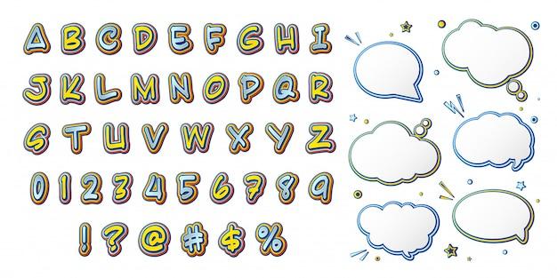 Fonte em quadrinhos, alfabeto de desenho animado e bolhas do discurso