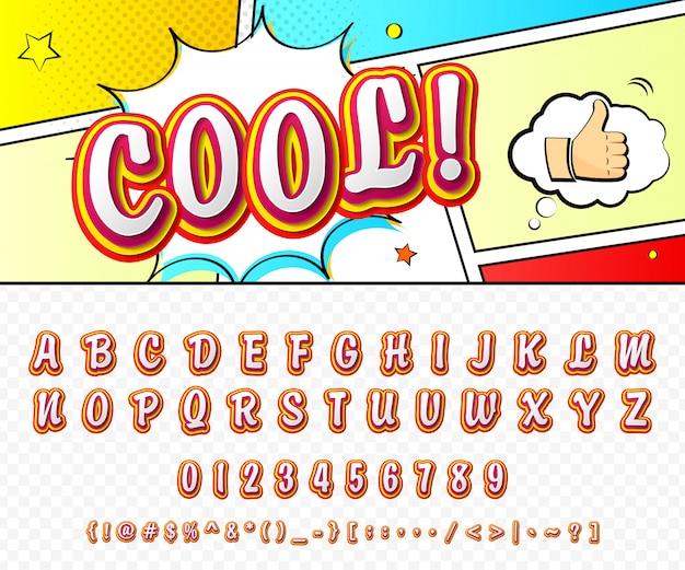 Fonte em quadrinhos. alfabeto dos desenhos animados no estilo da pop art.