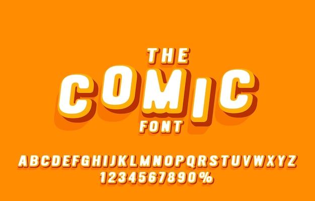 Fonte em quadrinhos definir coleção de letras e números símbolo vetor