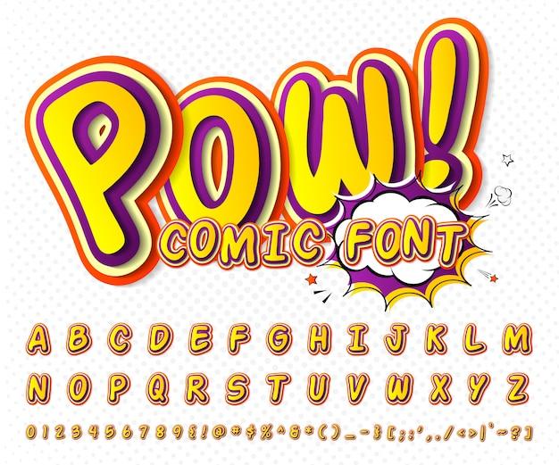 Fonte em quadrinhos legal, alfabeto infantil no estilo do livro de quadrinhos, pop art. letras e números coloridos engraçados multicamada