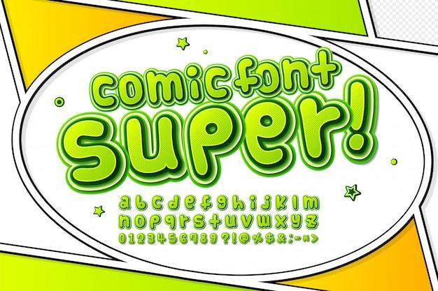 Fonte em quadrinhos verde de desenho animado
