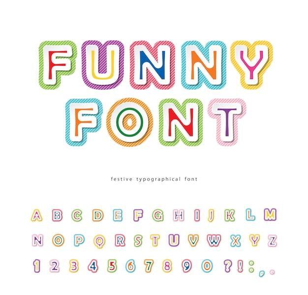 Fonte engraçada. alfabeto colorido para crianças.