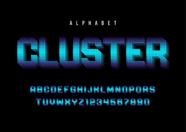 Fonte estilizada de cluster com alfabeto, letra