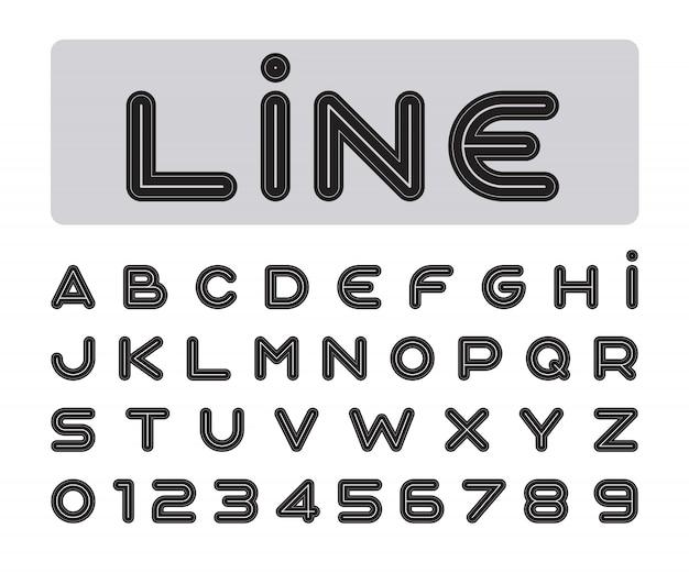 Fonte estilizada em negrito e alfabeto
