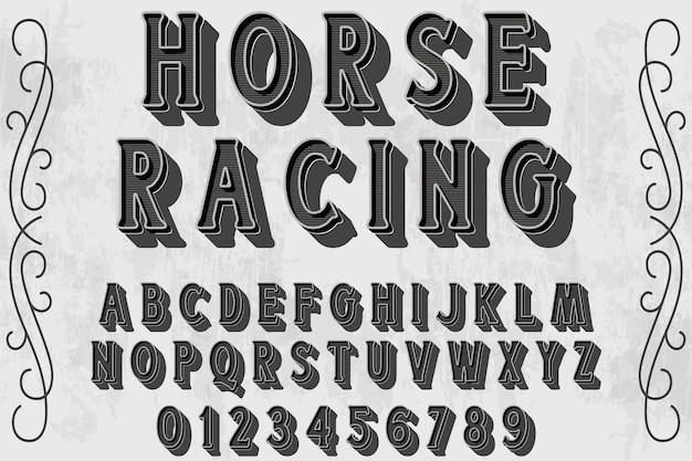 Fonte feita à mão com o nome corrida de cavalos