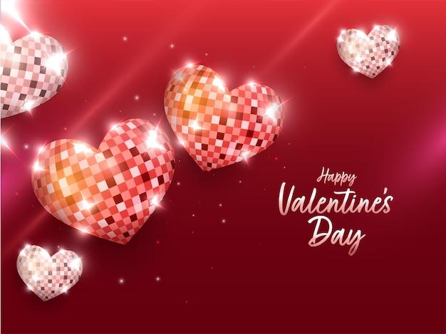 Fonte feliz dia dos namorados com vista superior de bolas de discoteca em formato de coração em 3d