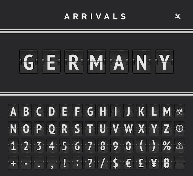 Fonte flip da placa mecânica do aeroporto com marcação de linha tripla e destino de chegadas na alemanha