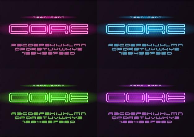 Fonte futurista de néon brilhante central, tipo de letra, alfabeto, le