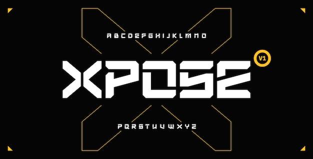 Fonte futurista de techno abstrato moderno, conjunto de letras de exibição em negrito de ficção científica, stencil clean stencil monoespaçado xposetypeface