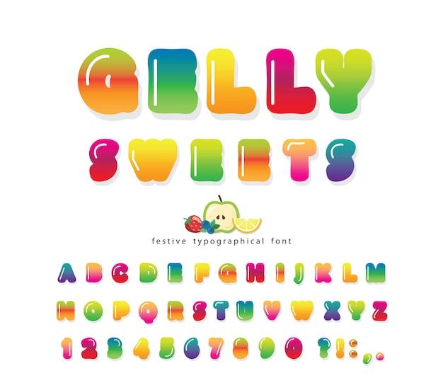 Fonte gelly 3d doce. alfabeto bonito dos desenhos animados