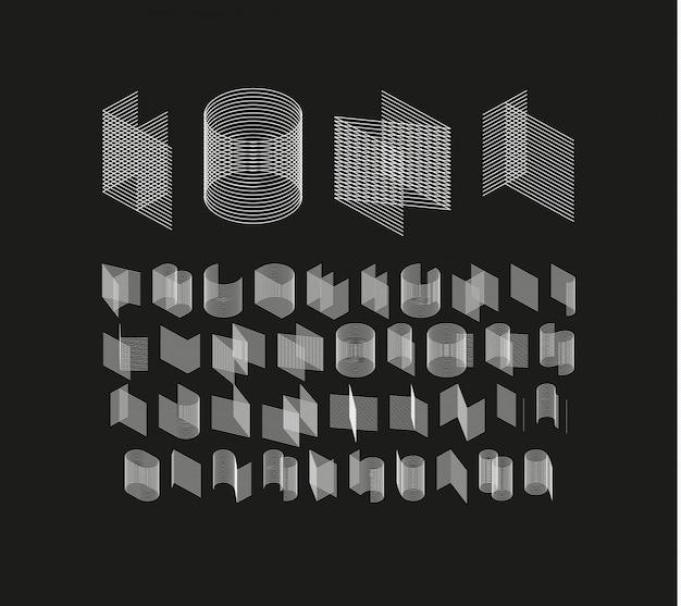 Fonte geométrica isométrica. conjunto de linha estilo conjunto de letras e números.