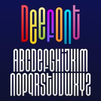 Fonte geométrica redonda ou alfabeto com letras longas