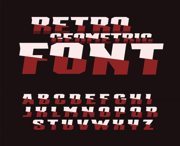 Fonte geométrica retrô. design de tipografia.