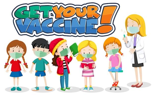 Fonte get your vaccine com muitas crianças esperando na fila para receber a vacina covid-19