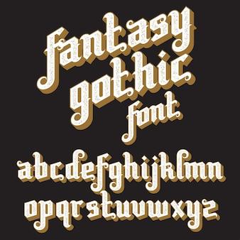 Fonte gótica fantasia. alfabeto vintage retrô. letras personalizadas em um fundo escuro.