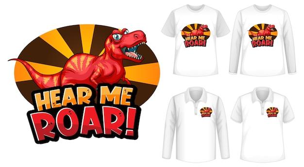 Fonte hear me roar e logotipo do personagem de desenho animado dinosaur com diferentes tipos de camisas