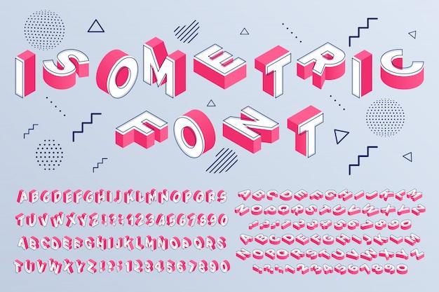 Fonte isométrica alfabeto geométrico 3d letras blocos cúbicos e números de perspectiva assinam conjunto de vetores