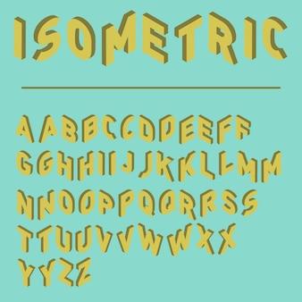 Fonte isométrica com duas versões de cada letras, fonte do jogo, tipo de letra colorido