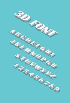 Fonte isométrica. conjunto de letras e números isolados sobre fundo azul. alfabeto 3d