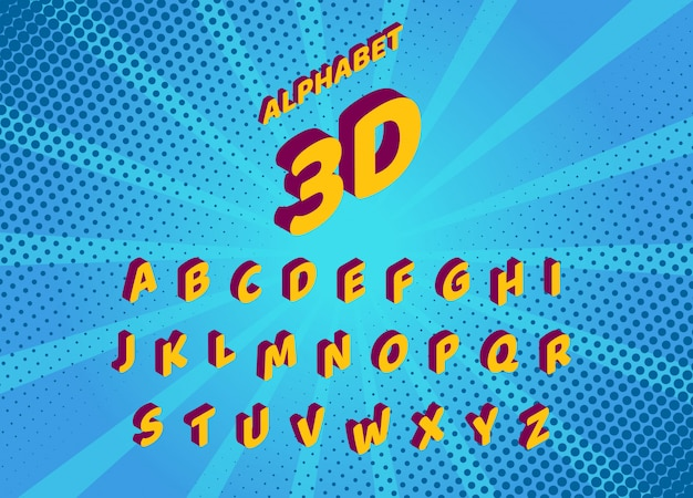 Fonte isométrica de quadrinhos desenhos animados. conjunto de letras e números isolados. alfabeto