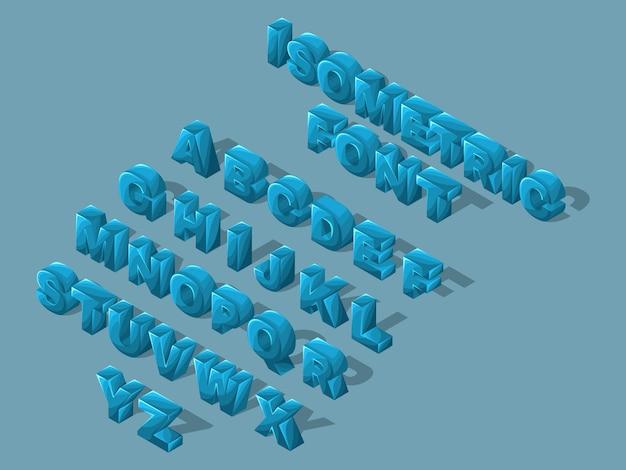 Fonte isométrica dos desenhos animados, letras, brilhante grande conjunto de letras azuis do alfabeto inglês para criar ilustrações