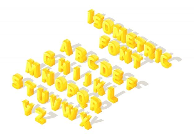 Fonte isométrica dos desenhos animados, letras, brilhante grande conjunto de letras do alfabeto inglês para criar ilustrações