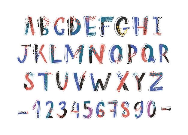Fonte latina criativa ou alfabeto inglês desenhado à mão